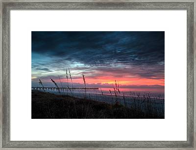 Early At The Beach Framed Print