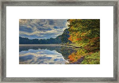 Framed Print featuring the photograph Early Autumn At Caldwell Lake by Jaki Miller