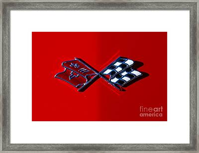 Early C3 Corvette Emblem Red Framed Print by Dennis Hedberg