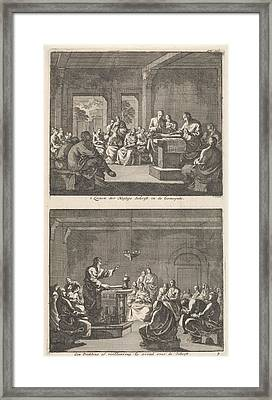 Early Christian Community Listening To A Reading Framed Print by Jan Luyken And Barent Visscher And Jacobus Van Hardenberg