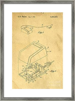 Early Computer Mouse Patent Yellowed Paper Framed Print by Edward Fielding