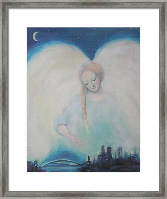 Early Dawn Angel Overlooking Commuters Framed Print