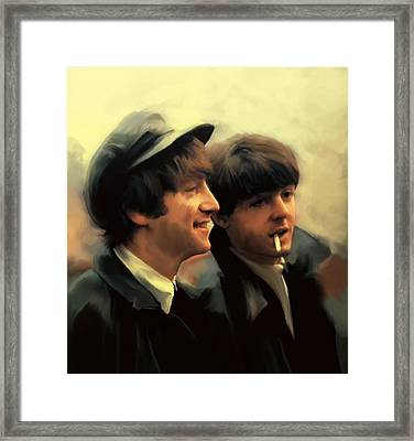 Early Days II John Lennon And Paul Mccartney Framed Print by Iconic Images Art Gallery David Pucciarelli