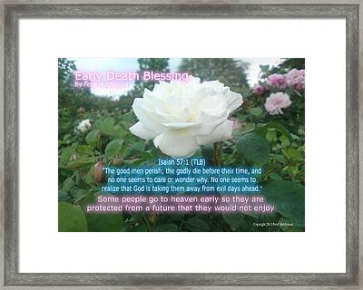 Early Death Blessing Framed Print by Bible Verse Pictures