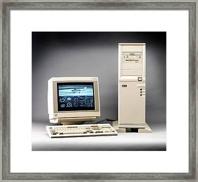 Early Desktop Computer Framed Print by Ton Kinsbergen