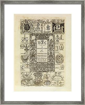 Early English Printers Framed Print by Middle Temple Library