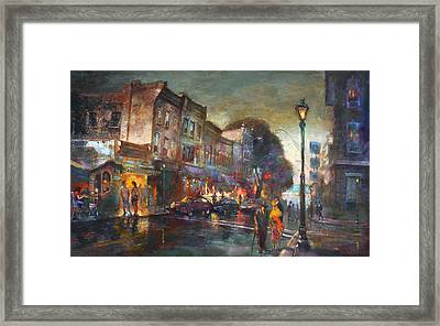Early Evening In Main Street Nyack Framed Print by Ylli Haruni