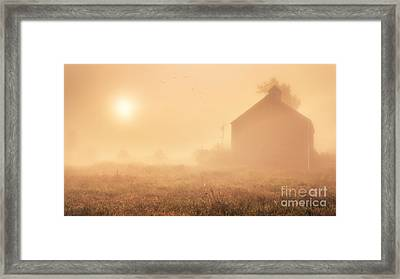 Early Foggy Morning On The Farm Framed Print by Edward Fielding