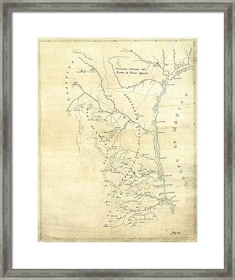 Early Hand-drawn Southern Texas Map C. 1795 Framed Print by Daniel Hagerman