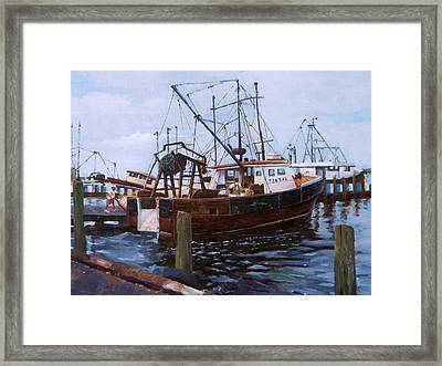 Framed Print featuring the painting Early Harbor Morning by Noe Peralez