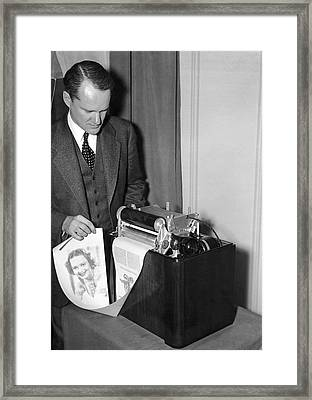 Early Home Fax Machine Framed Print by Underwood Archives