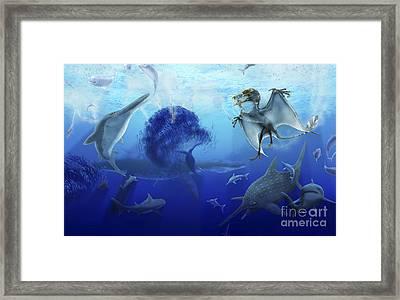 Early Jurassic European Pelagic Scene Framed Print