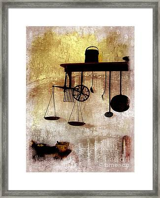 Early Kitchen Tools Framed Print by Marcia Lee Jones