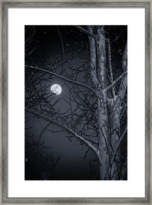 Framed Print featuring the photograph Early Moon In Black And White by Micah Goff