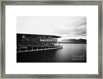 early morning at the Vancouver convention centre west building on burrard inlet BC Canada Framed Print by Joe Fox