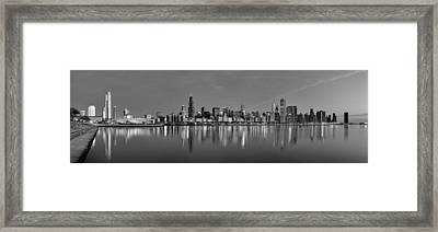 Early Morning Chicago In Monochrome Framed Print by Georgia Fowler
