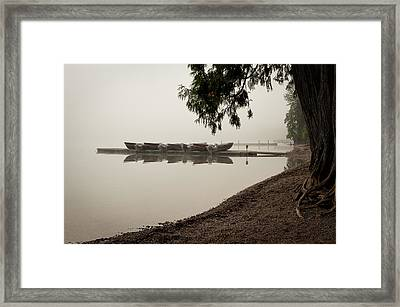 Early Morning Fog On The Boat Dock On Lake Mcdonald Framed Print by Mark Serfass