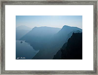 Framed Print featuring the photograph Early Morning Fog Over Crater Lake by Jeff Goulden