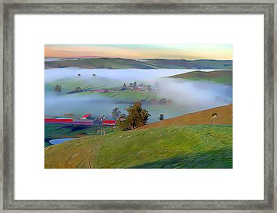 Early Morning Fog Over Two Rock Valley Framed Print by Wernher Krutein