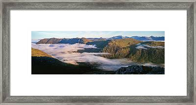 Early Morning Light On Mountains Framed Print