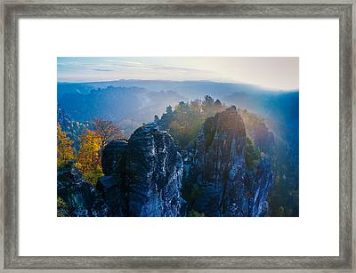 Early Morning Mist At The Bastei In The Saxon Switzerland Framed Print
