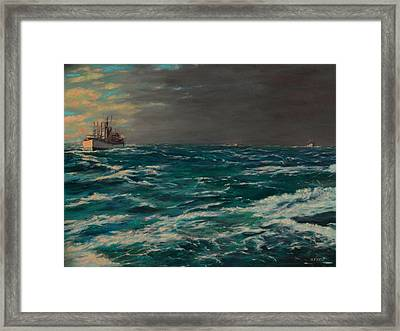 Early Morning North Atlantic Convoy Ww II Framed Print