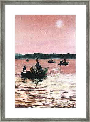 Early Morning Scallopers Framed Print