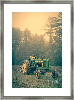 Early Morning Tractor In Farm Field Framed Print by Edward Fielding