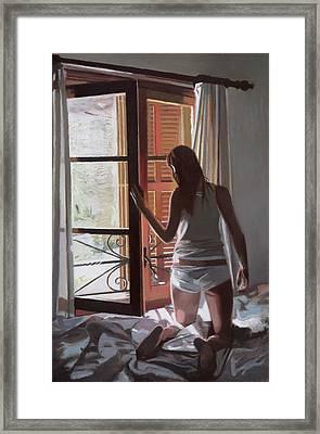 Early Morning Villa Mallorca Framed Print by Gillian Furlong