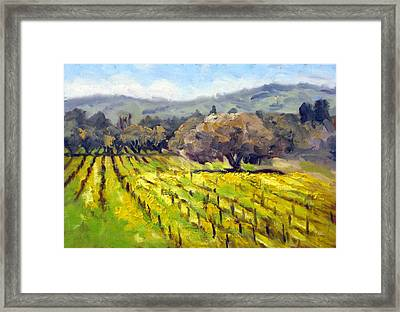 Early Mustard In The Vineyards Framed Print by Char Wood