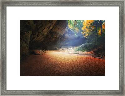 Early Pre-dawn Mist At Ash Cave Framed Print