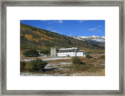 Early Snow At The Farm Framed Print