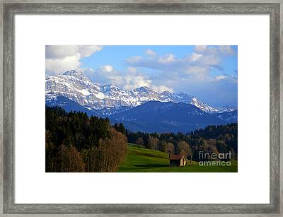Early Snow In The Swiss Mountains Framed Print