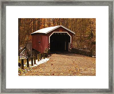 Framed Print featuring the photograph Early Snowfall On Wooden Covered Bridge by Bob Sample