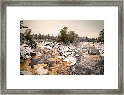 Framed Print featuring the photograph Early Snowfall On The Saint Louis River by Mark David Zahn Photography