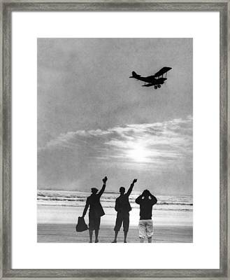 Early Start For Biplane Framed Print by Underwood Archives