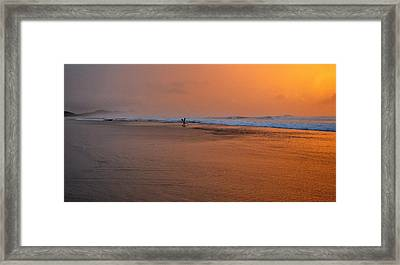 Dawn Sea Man Harmony Framed Print