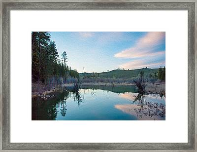 Early Sunset On A Beaver Pond  Framed Print by Omaste Witkowski