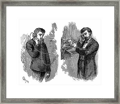 Early Telephone Users Framed Print by Universal History Archive/uig
