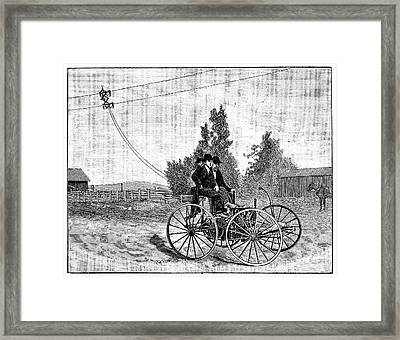Early Trolleybus System Framed Print by Science Photo Library