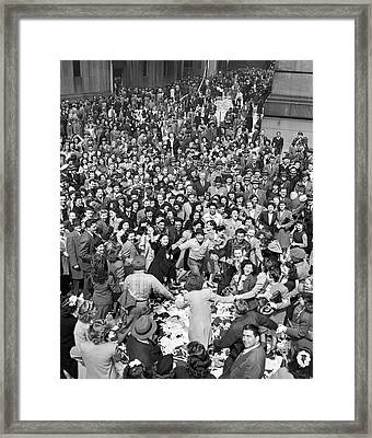 Early Ve-day On Wall Street Framed Print by Underwood Archives