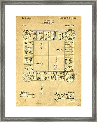 Early Version Of Monopoly Board Game Patent Framed Print