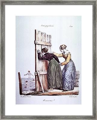 Early Victorian Peeping Women Framed Print by Daniel Hagerman