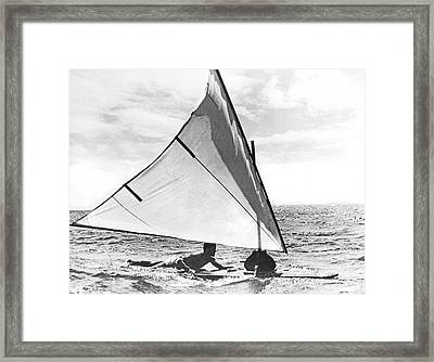 Early Windsurfing Framed Print by Underwood Archives