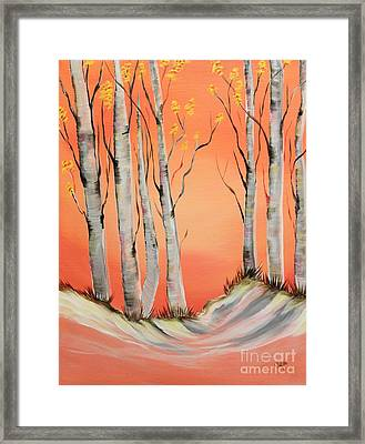 Framed Print featuring the painting Early Winter Aspen by Janice Rae Pariza