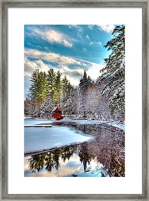 Early Winter At The Red Boathouse Framed Print by David Patterson