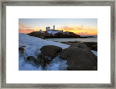 Early Winter Morning At Cape Neddick Lighthouse Framed Print by Brett Pelletier