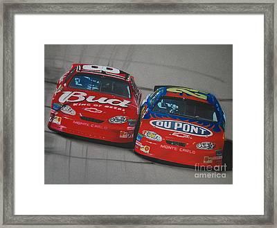 Earnhardt Junior And Jeff Gordon Trade Paint Framed Print by Paul Kuras