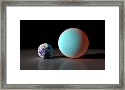 Earth And 55 Cancri Framed Print by Nasa/jpl-caltech/r. Hurt (ssc)
