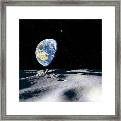 Earth And Asteroid Framed Print by Detlev Van Ravenswaay